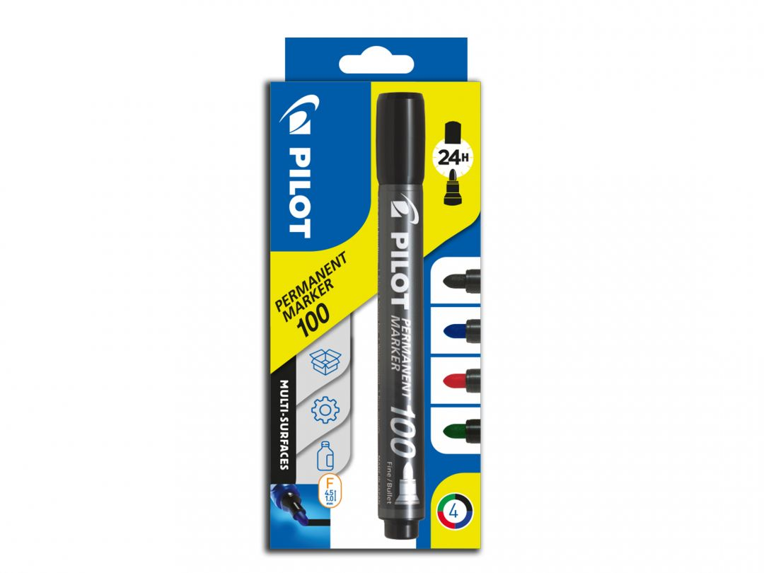 Permanent Marker 100 - Marker - Wallet of 4 - Black, Blue, Red, Green - Fine Bullet Tip
