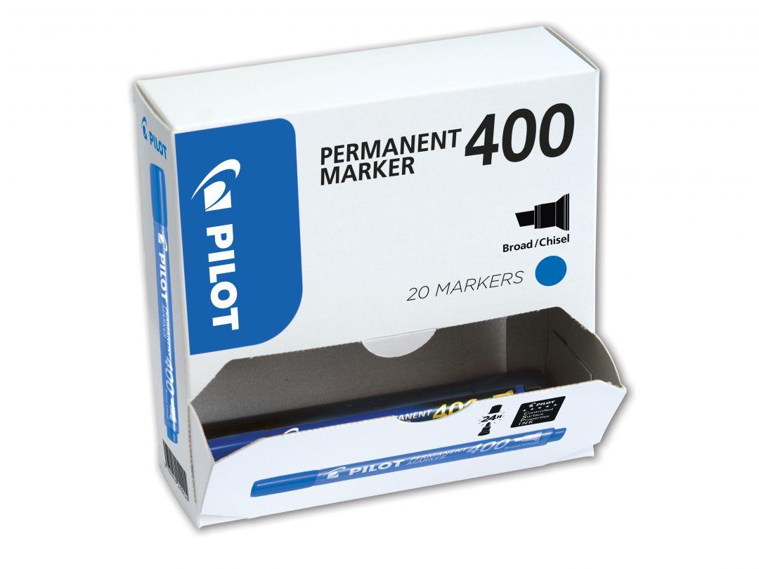 Permanent Marker 400 - Marker - XXL Pack - Blue - Broad Chisel Tip