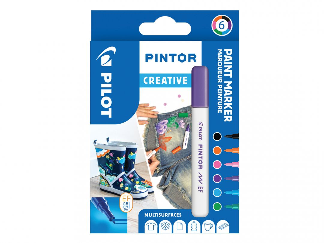 Pilot Pintor - Wallet of 6 - Creative colors - Extra Fine Tip
