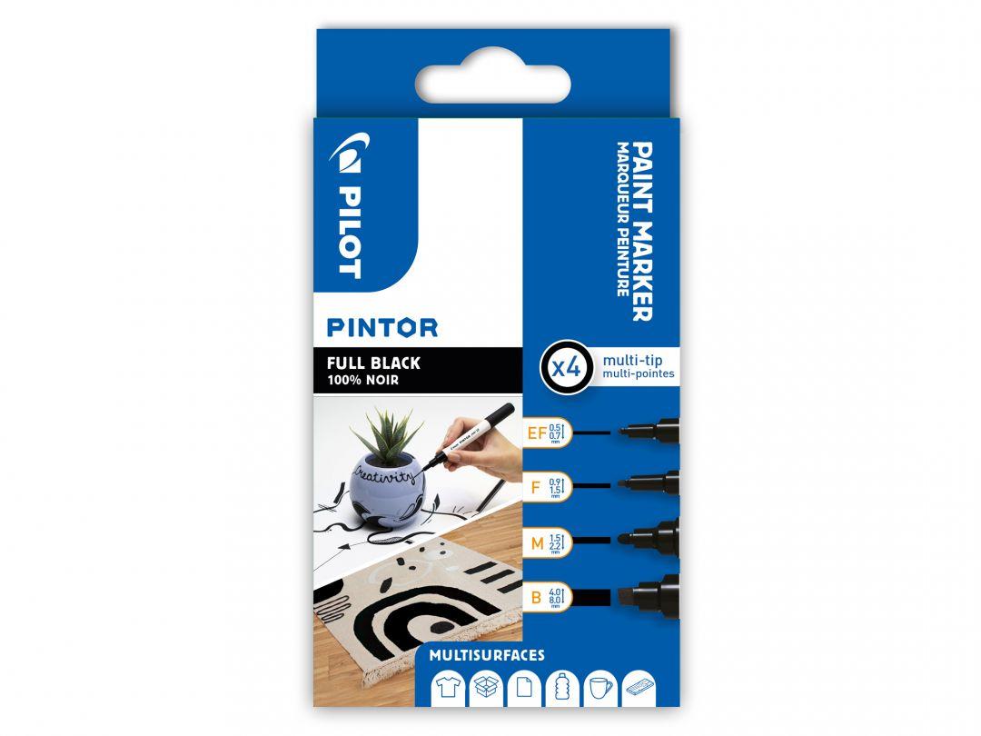 Pilot Pintor - Wallet of 4 - Black - Extra Fine / Fine / Medium / Broad Tip