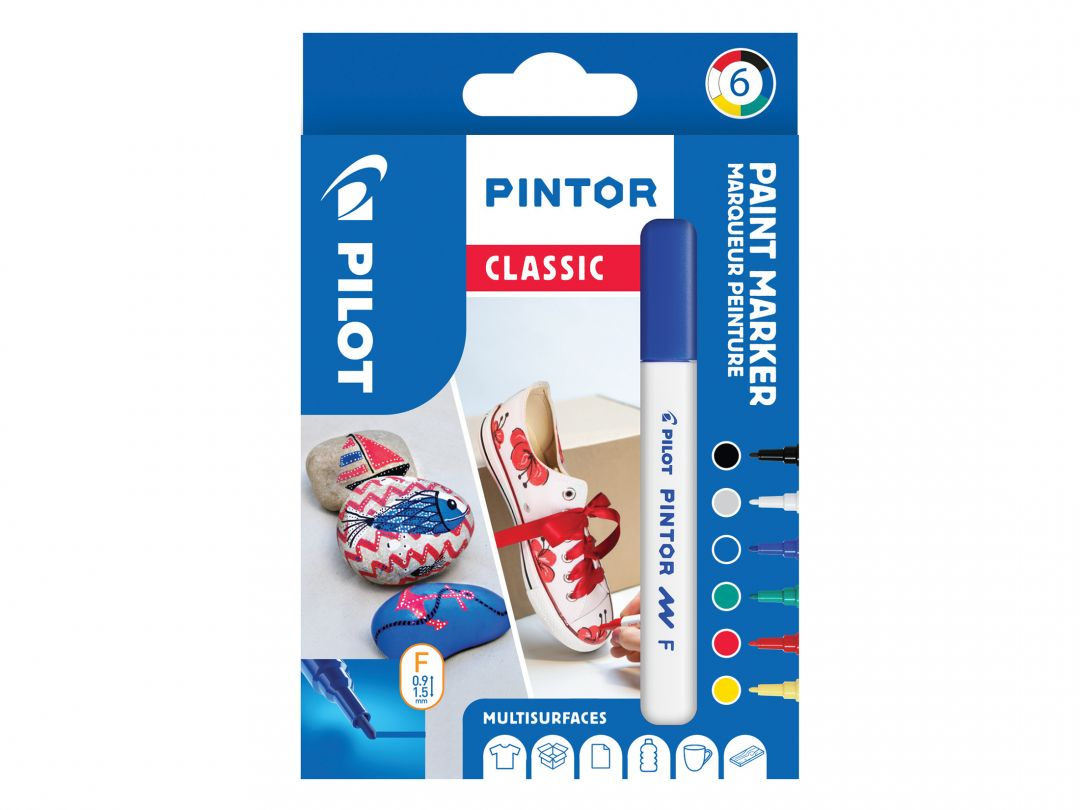 Pilot Pintor - Wallet of 6 - Classic colours - Fine Tip