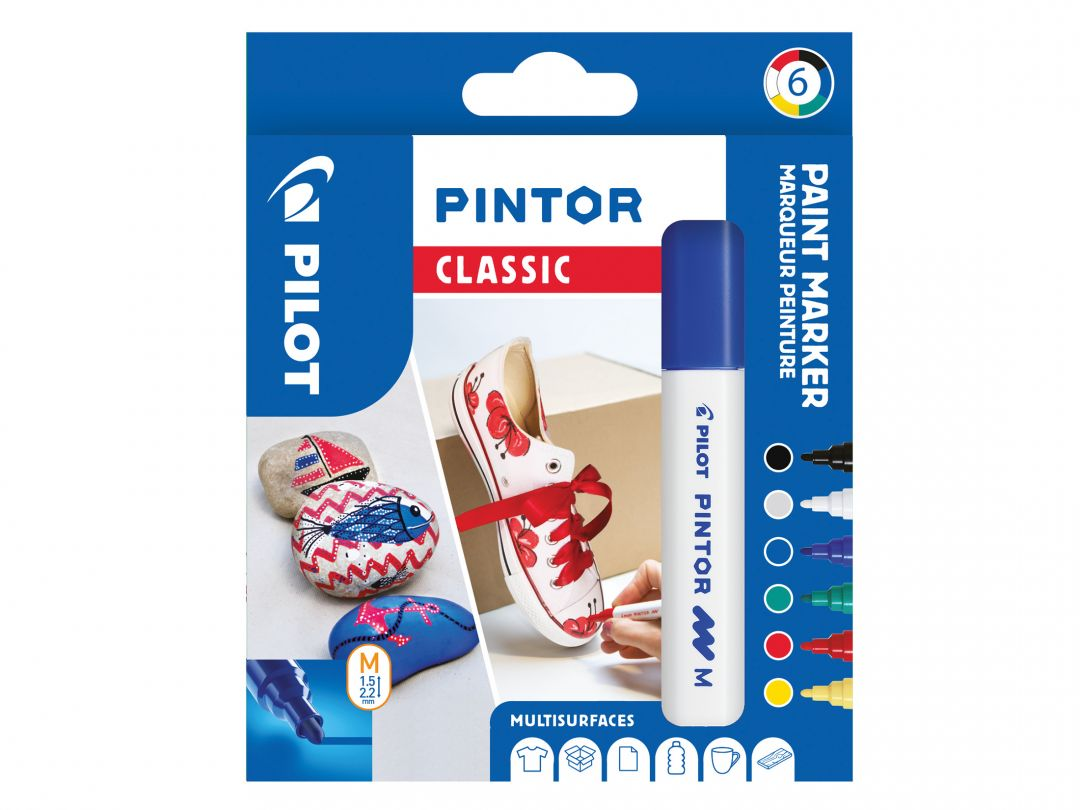 Pilot Pintor - Wallet of 6 - Classic colours - Medium Tip