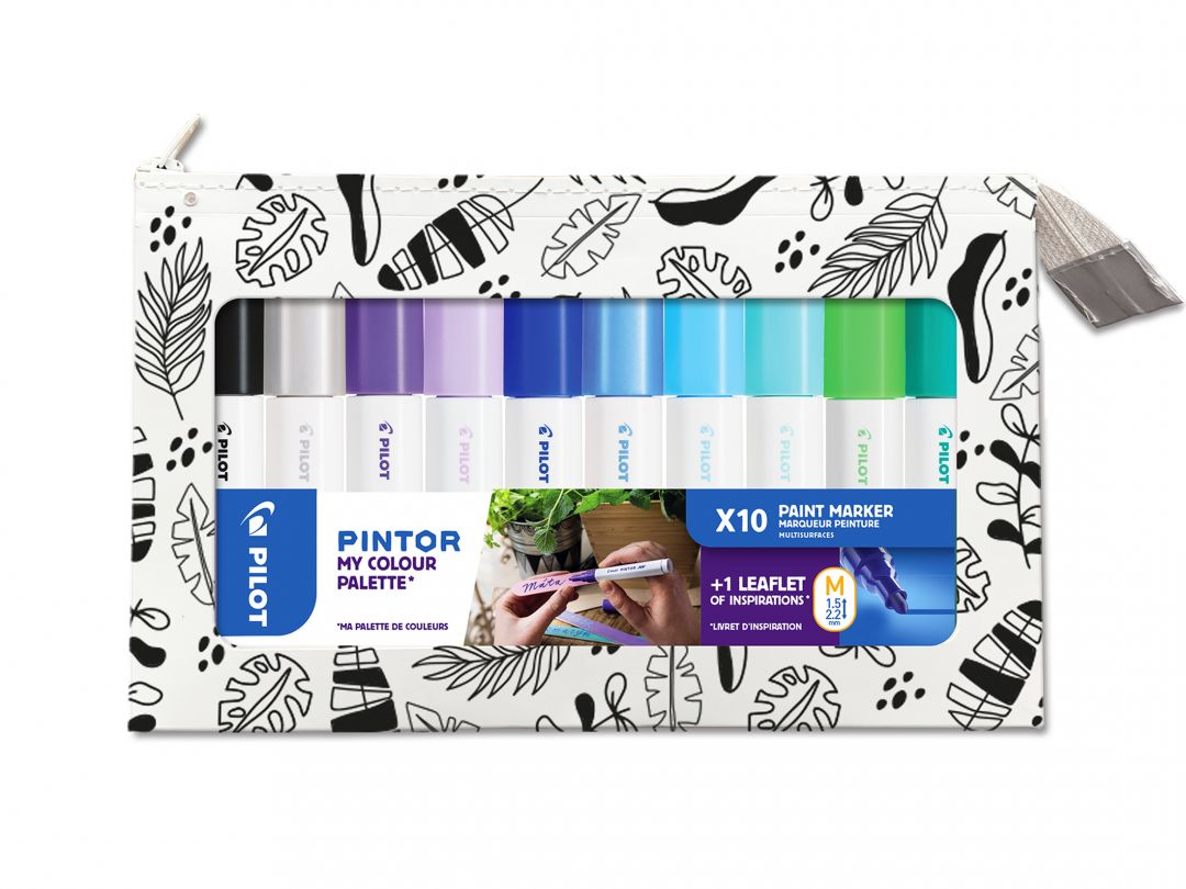 Pilot Pintor - My Colour Palette - Set of 10 - Cool colours - Medium Tip