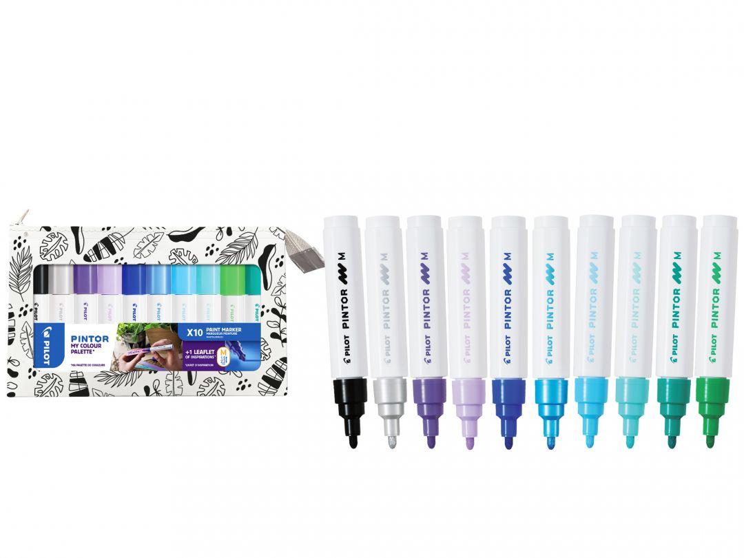 Pilot Pintor - My Colour Palette - Set of 10 - Cool colours - Medium Tip